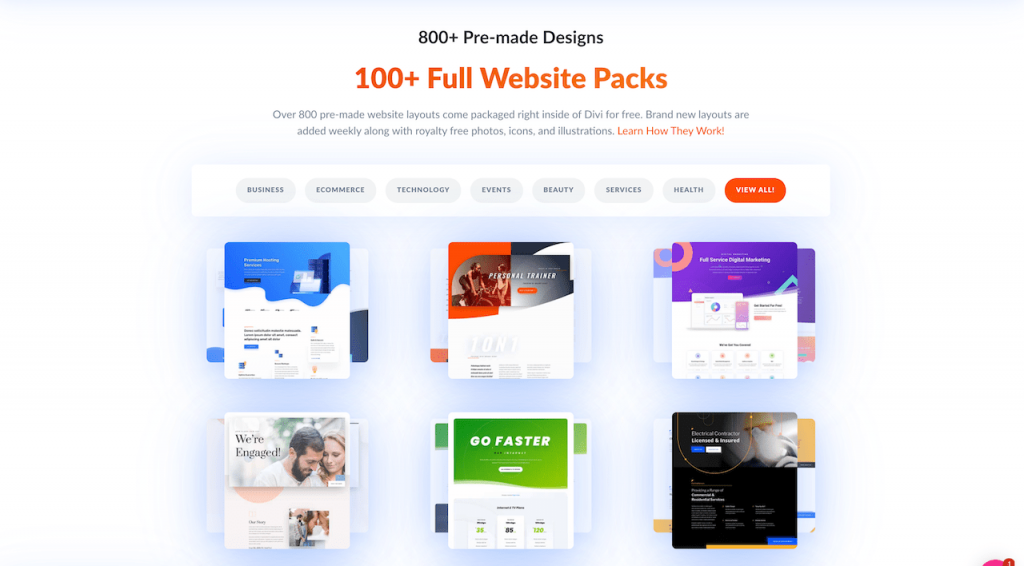 Divi pre-made templates and full website packs
