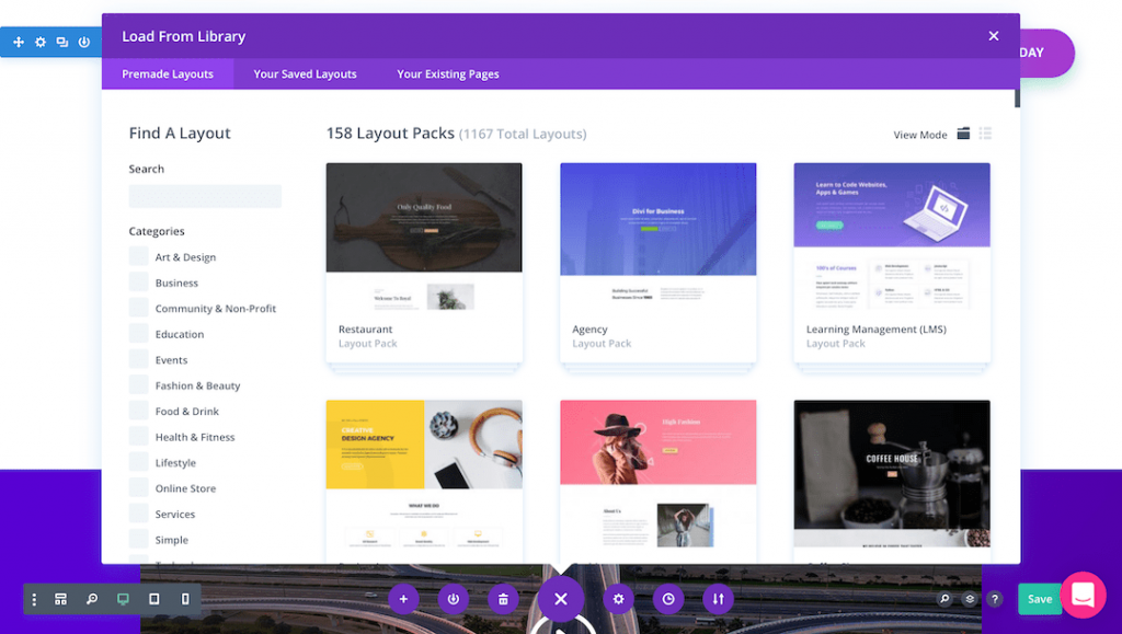 Template library of Divi page builder