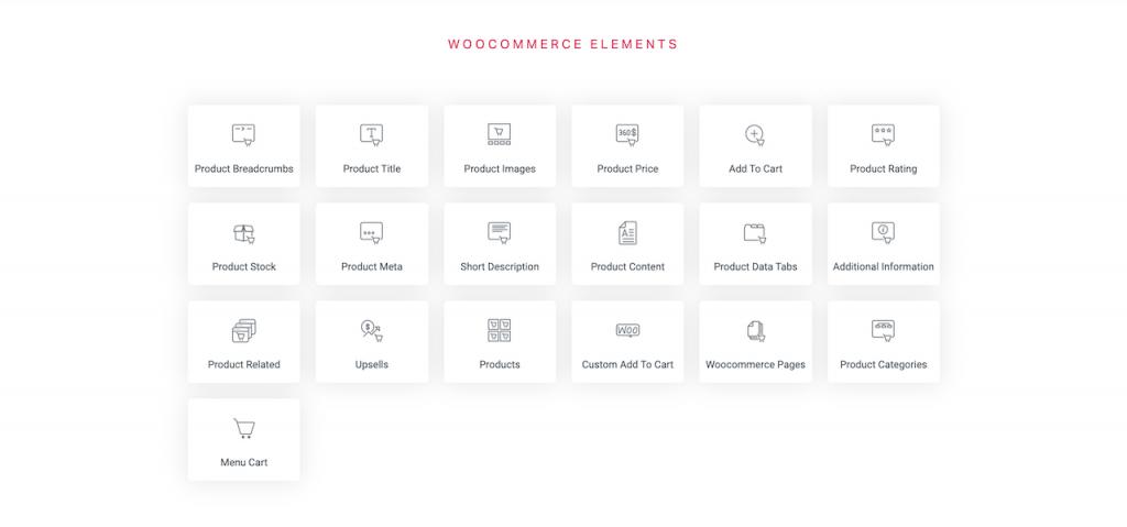 Elementor page builder Woocommerce elements