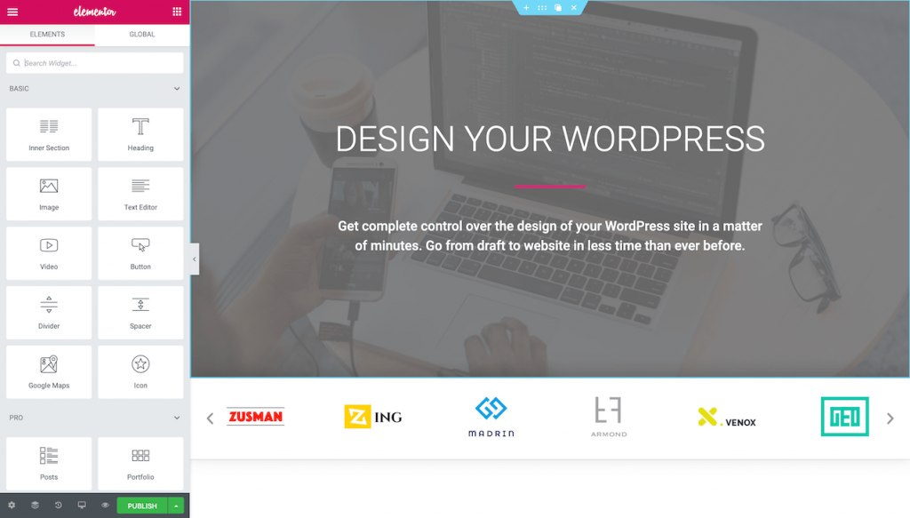 Frontend interface of the Elementor page builder
