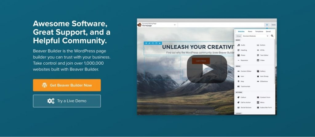 Beaver Builder page builder to build a website from scratch in WordPress