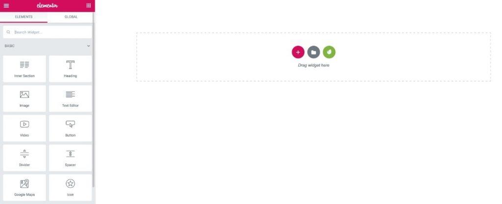 Elementor page builder interface