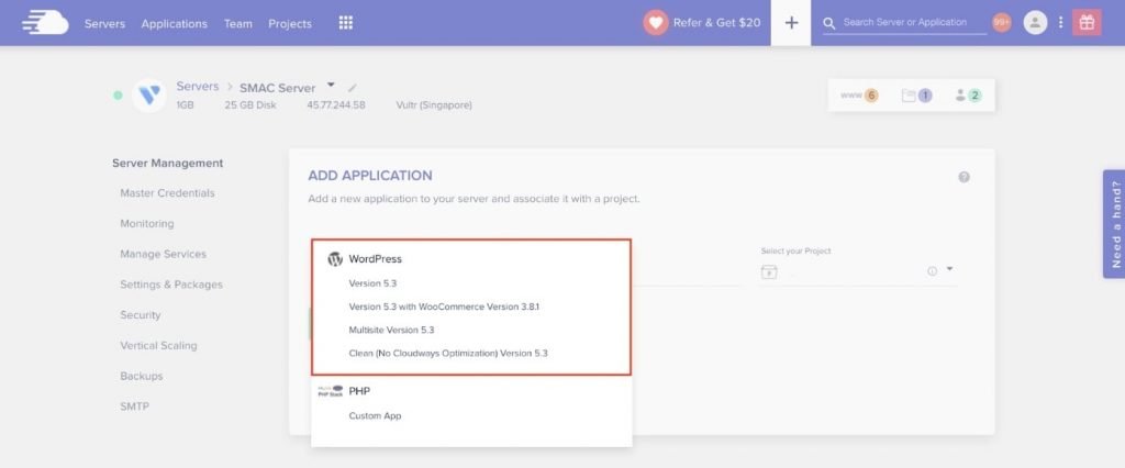 Install WordPress to build website on scratch on Cloudways