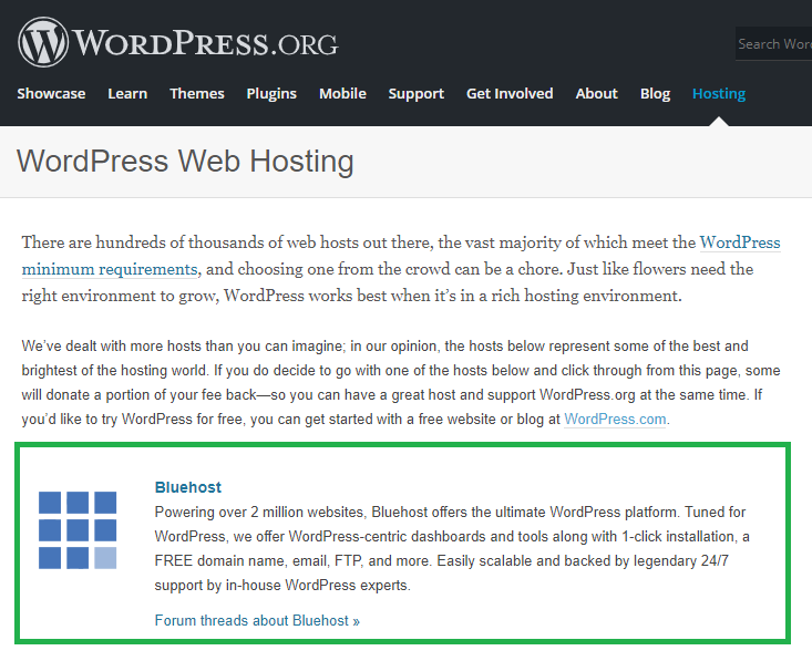 Creating Website From Scratch - Hosting Selection - WordPress Recommends Bluehost