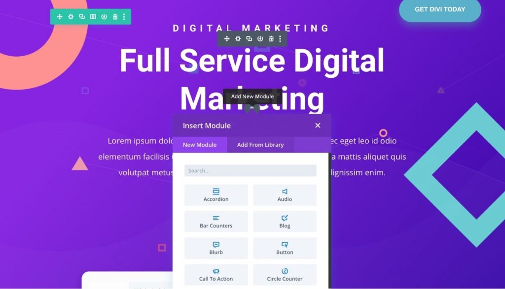 Divi interface to build website from scratch