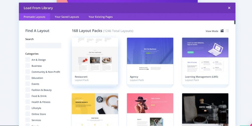 Layout library of Divi Builder