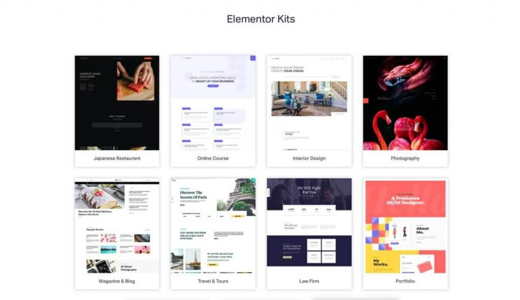 Elementor Template Site Kits
