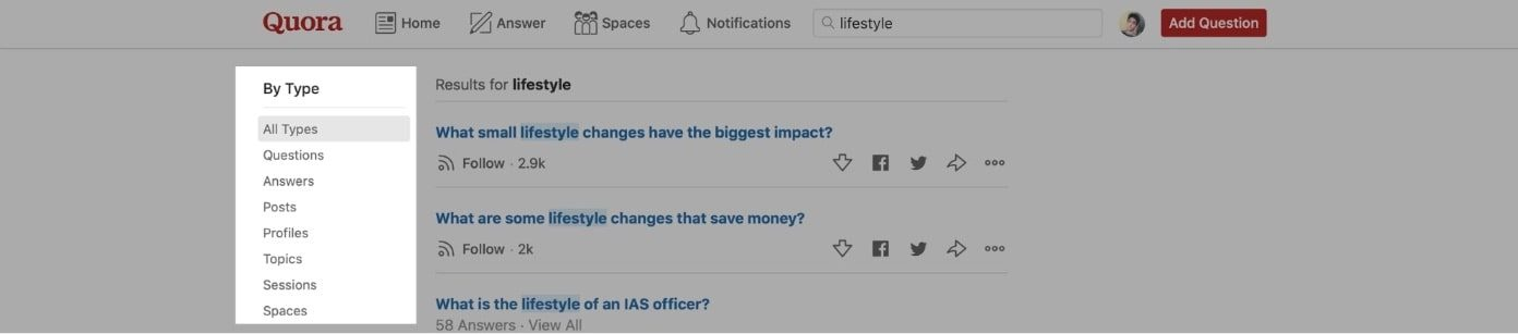 Quora search page