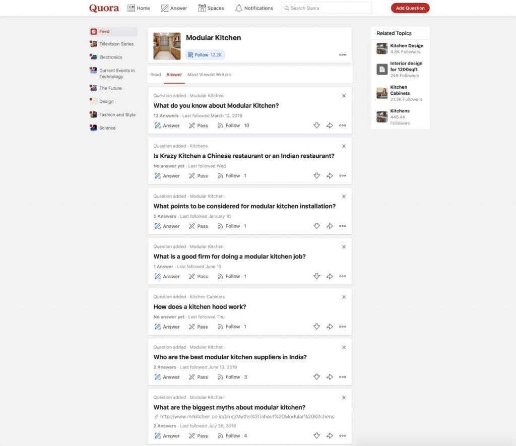 Quora questions in topics