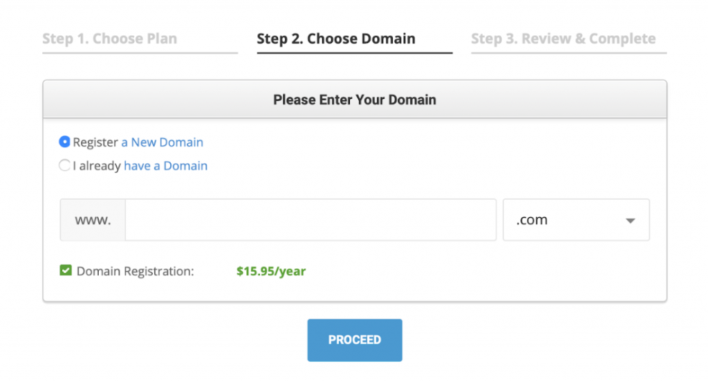 SiteGround domain selection