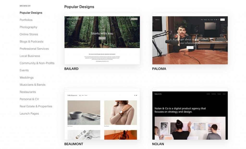 Layout collection of Squarespace