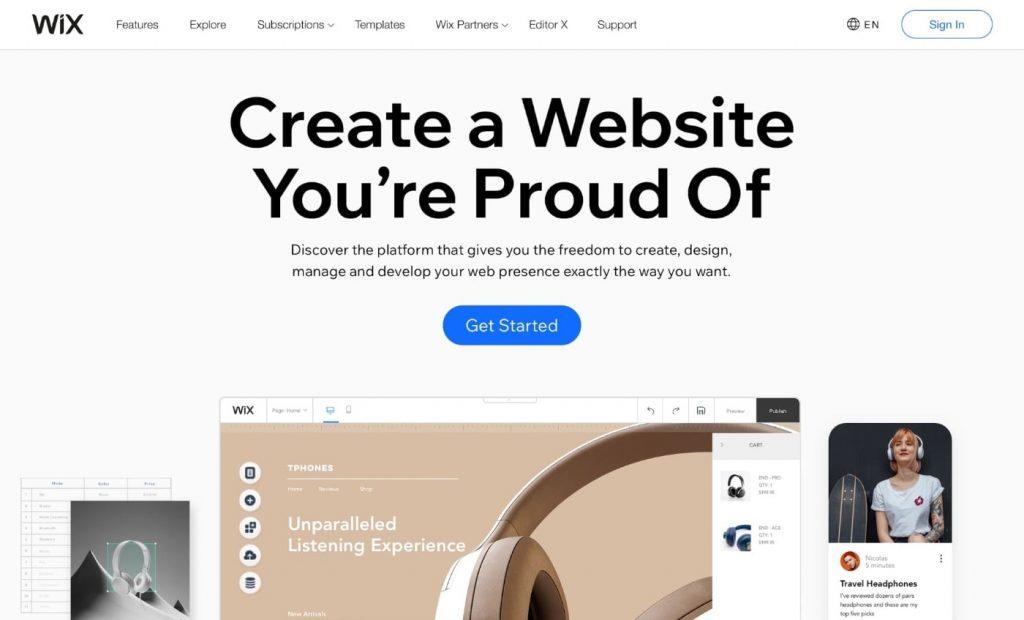 WIX website builder to build website from scratch
