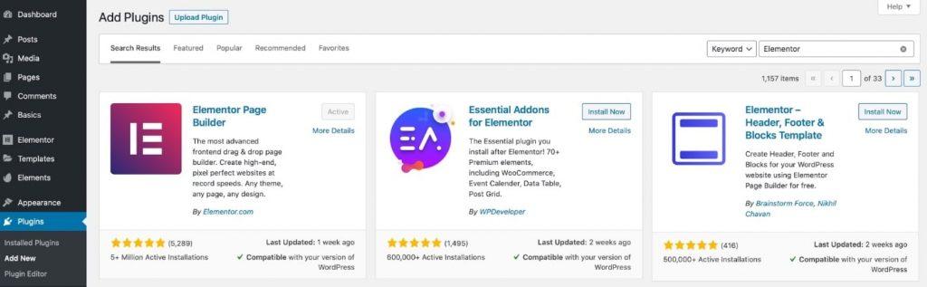 Elementor installation in WordPress