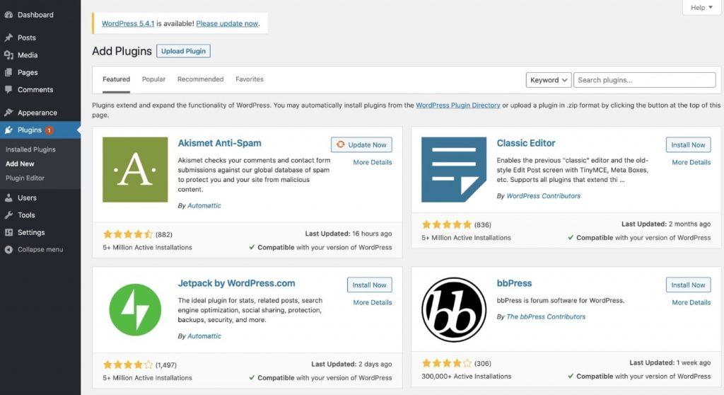 Add plugins in WordPress