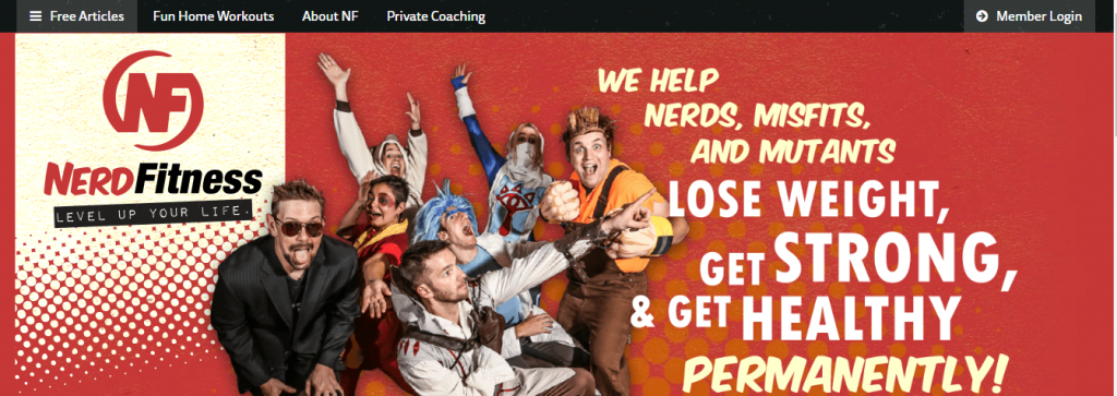 Nerd Fitness niche health and fitness website to engage a target audience