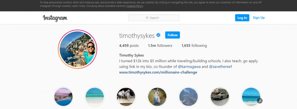 Timothy Sykes Instagram page showing number of followers