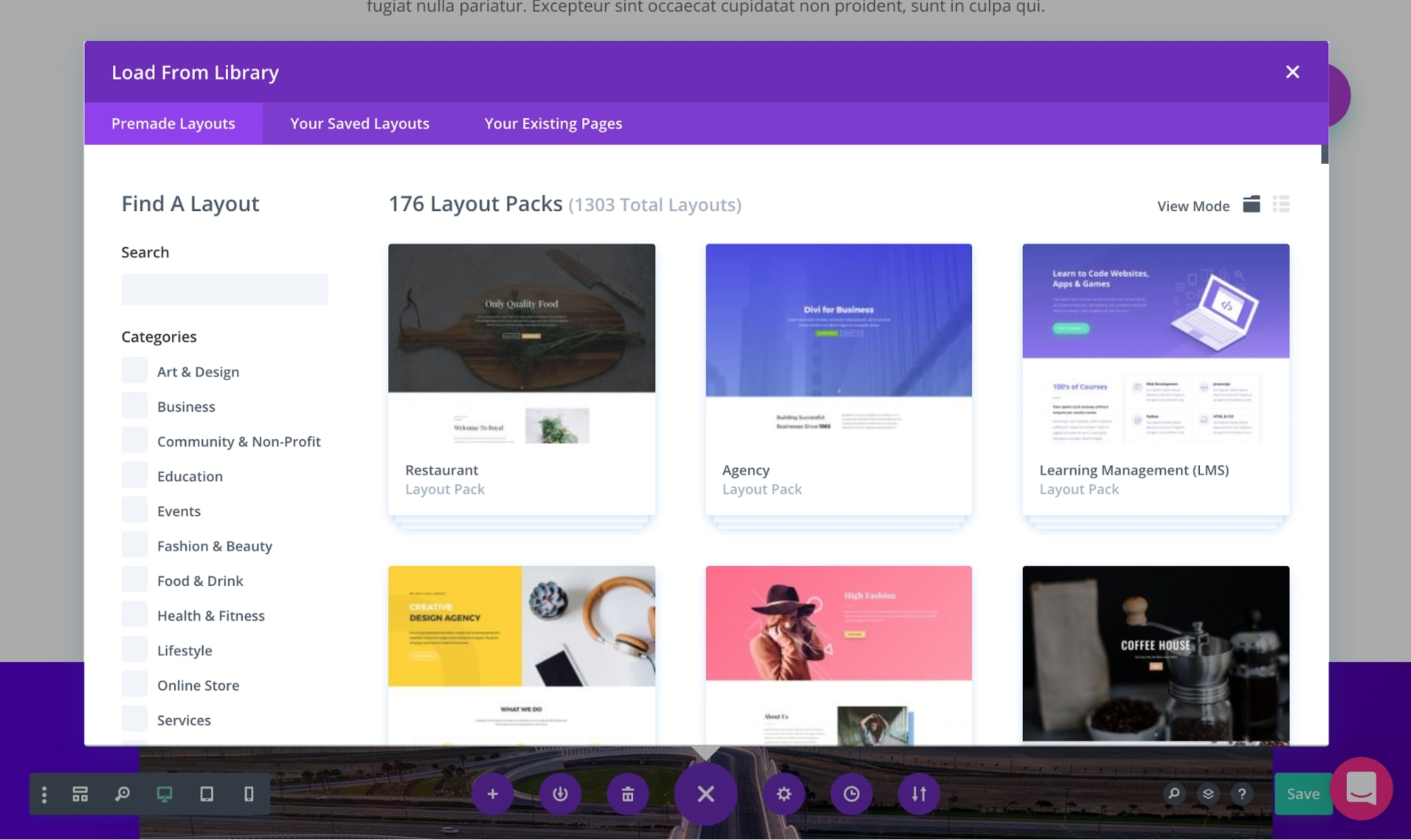 Divi Template Library and Website Packs