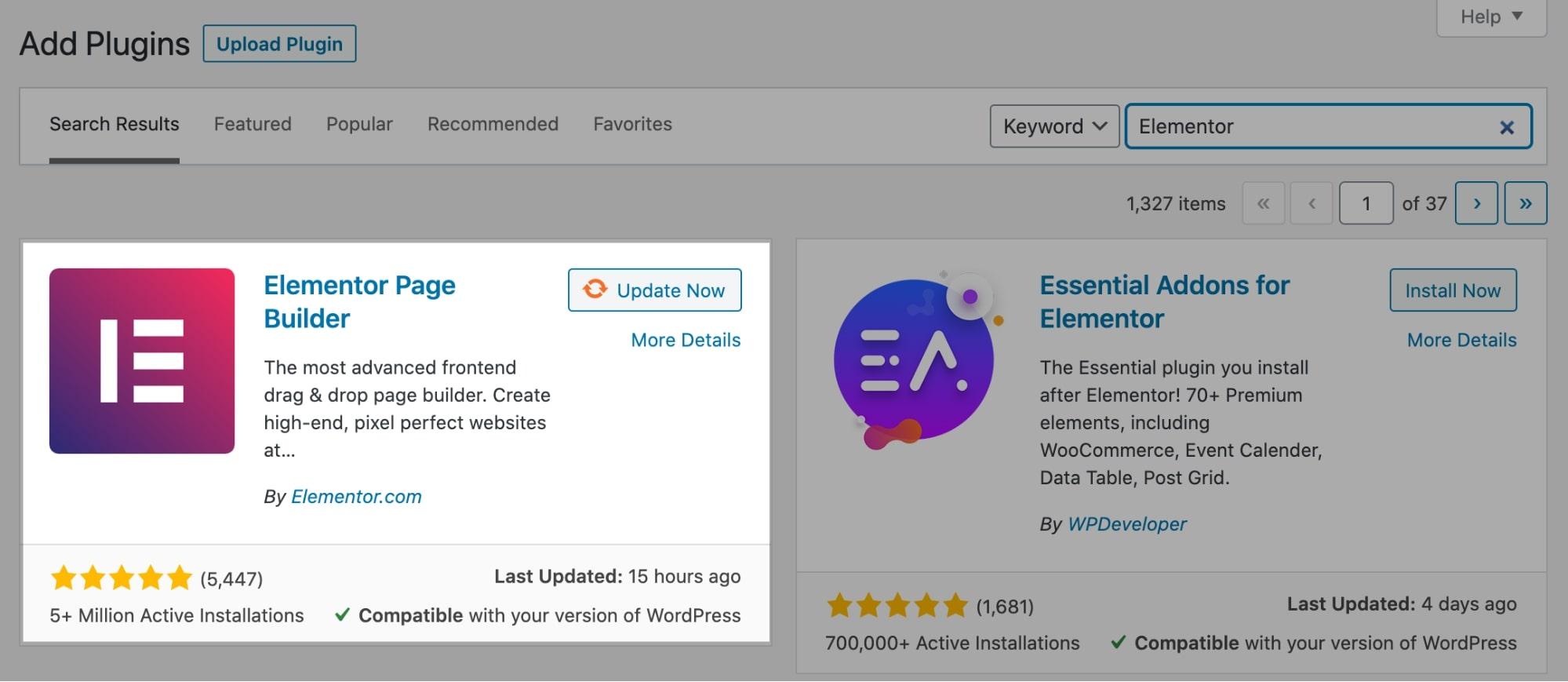 Elementor Install in WordPress