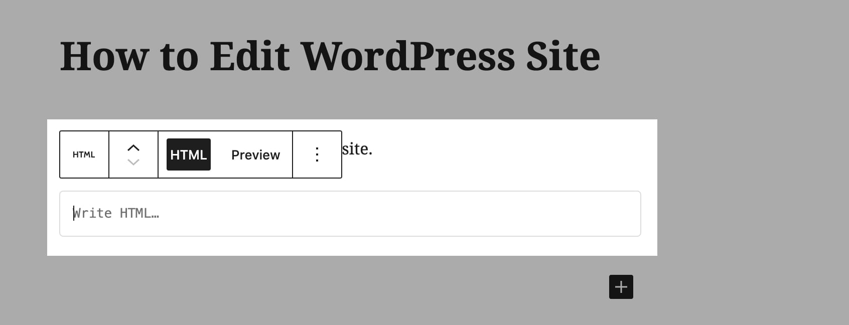 WordPress HTML Block