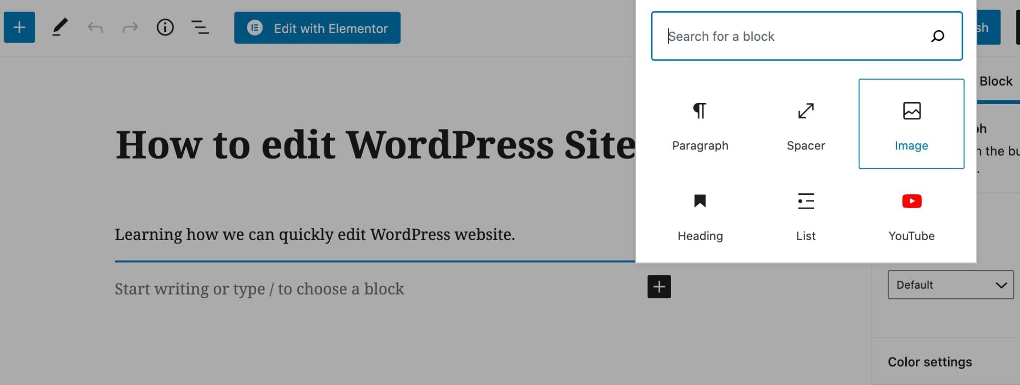 WordPress block editor