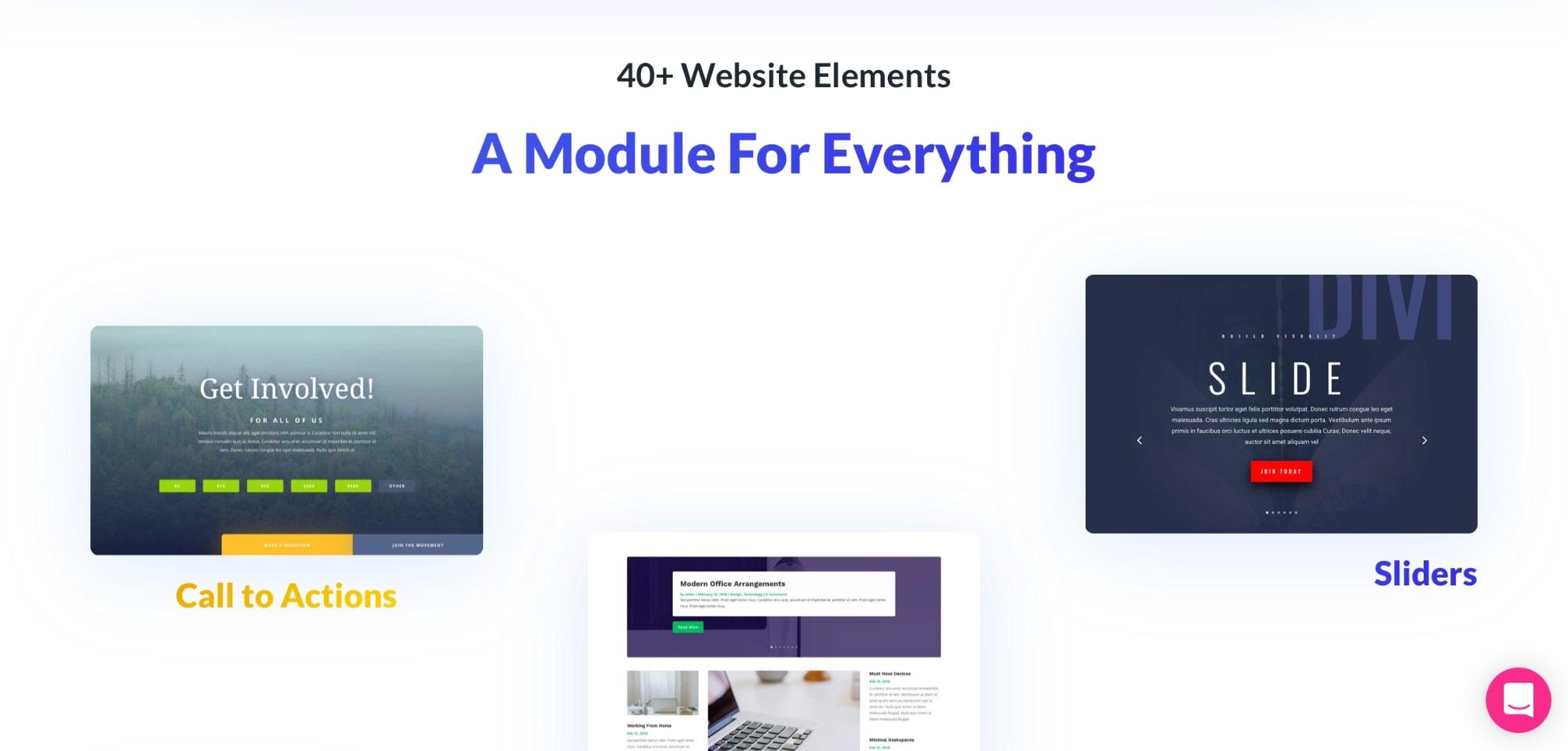 Content Modules of Divi theme