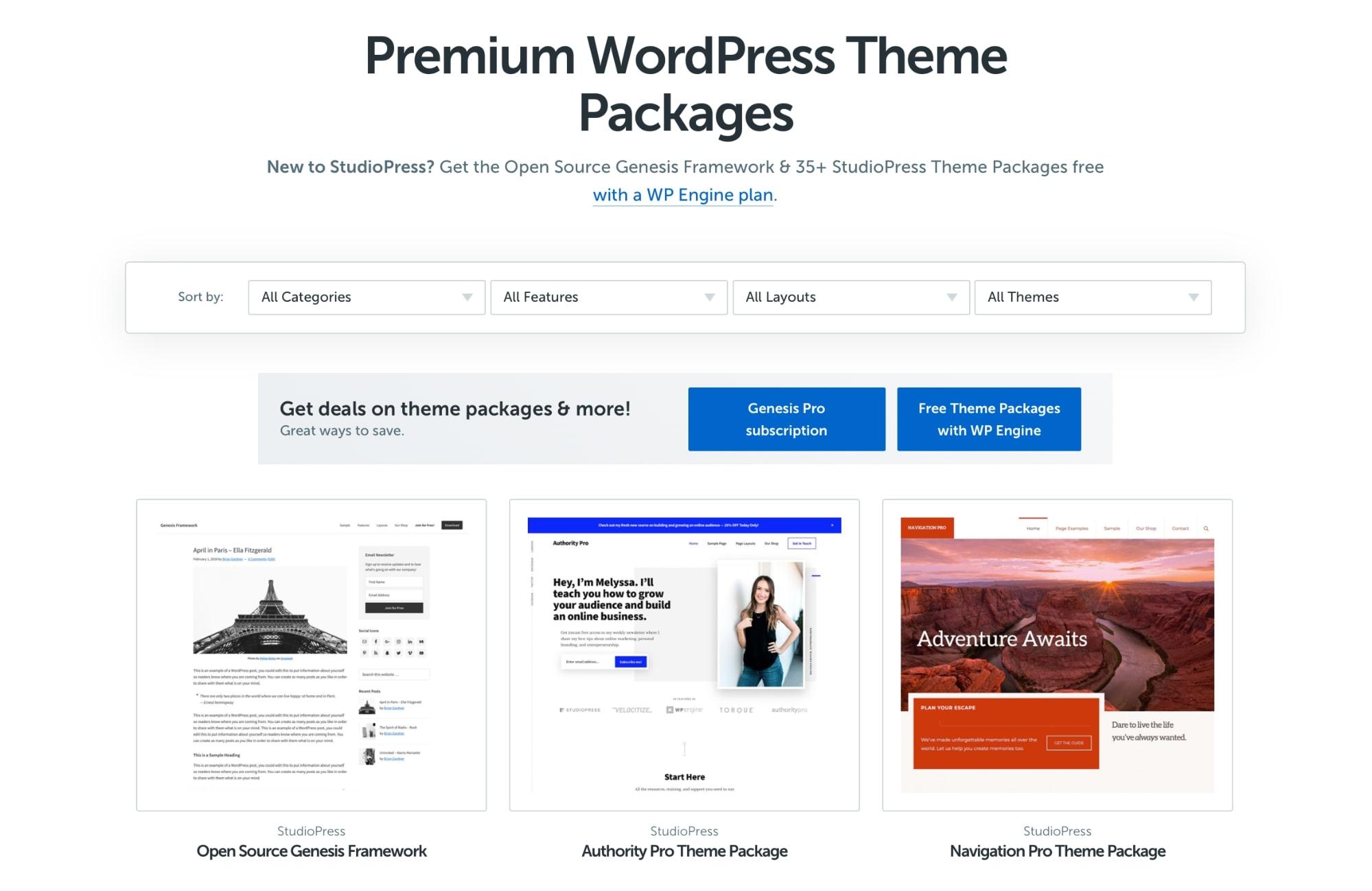 StudioPress premium Genesis child themes