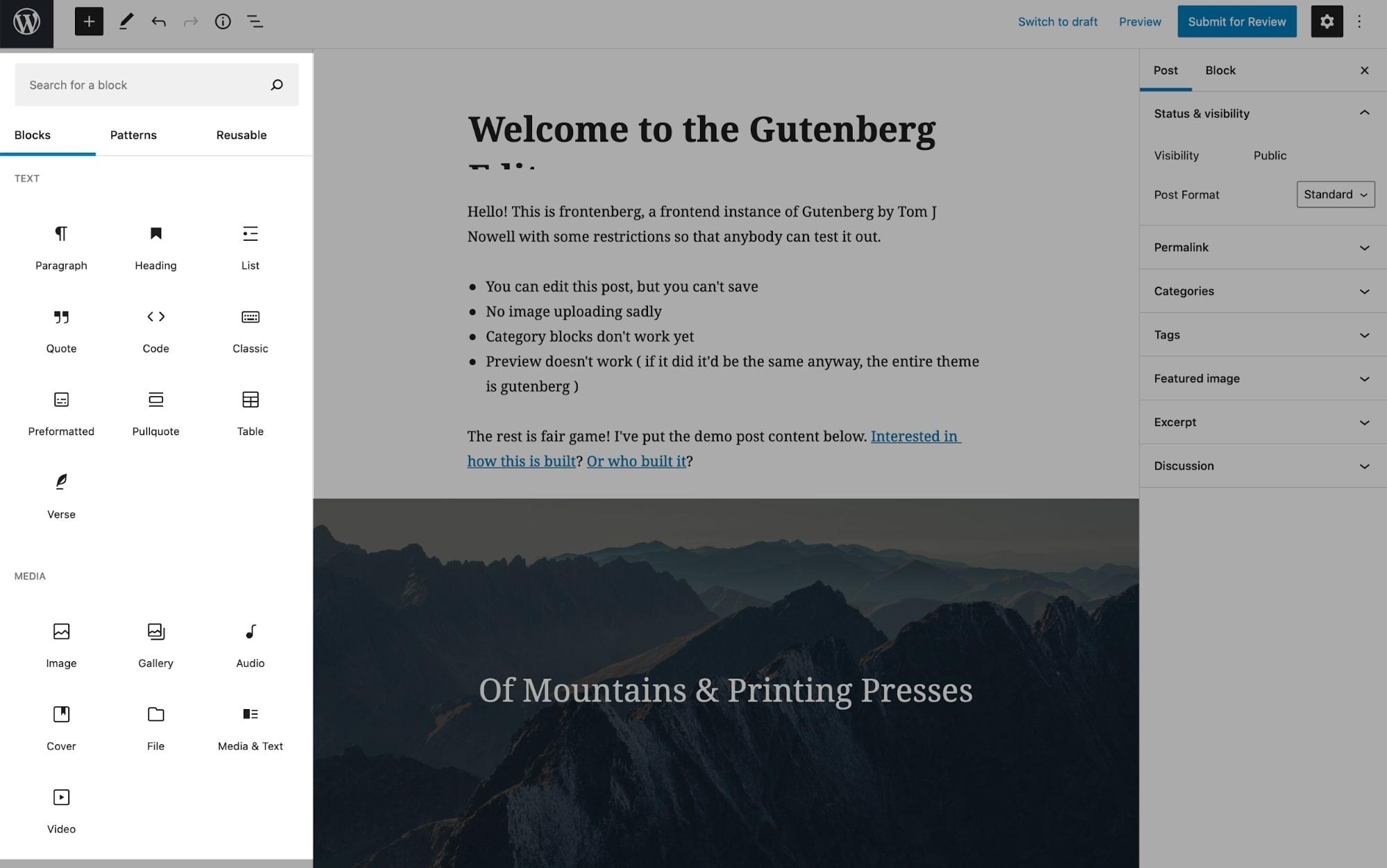 Blocks in the Gutenberg editor