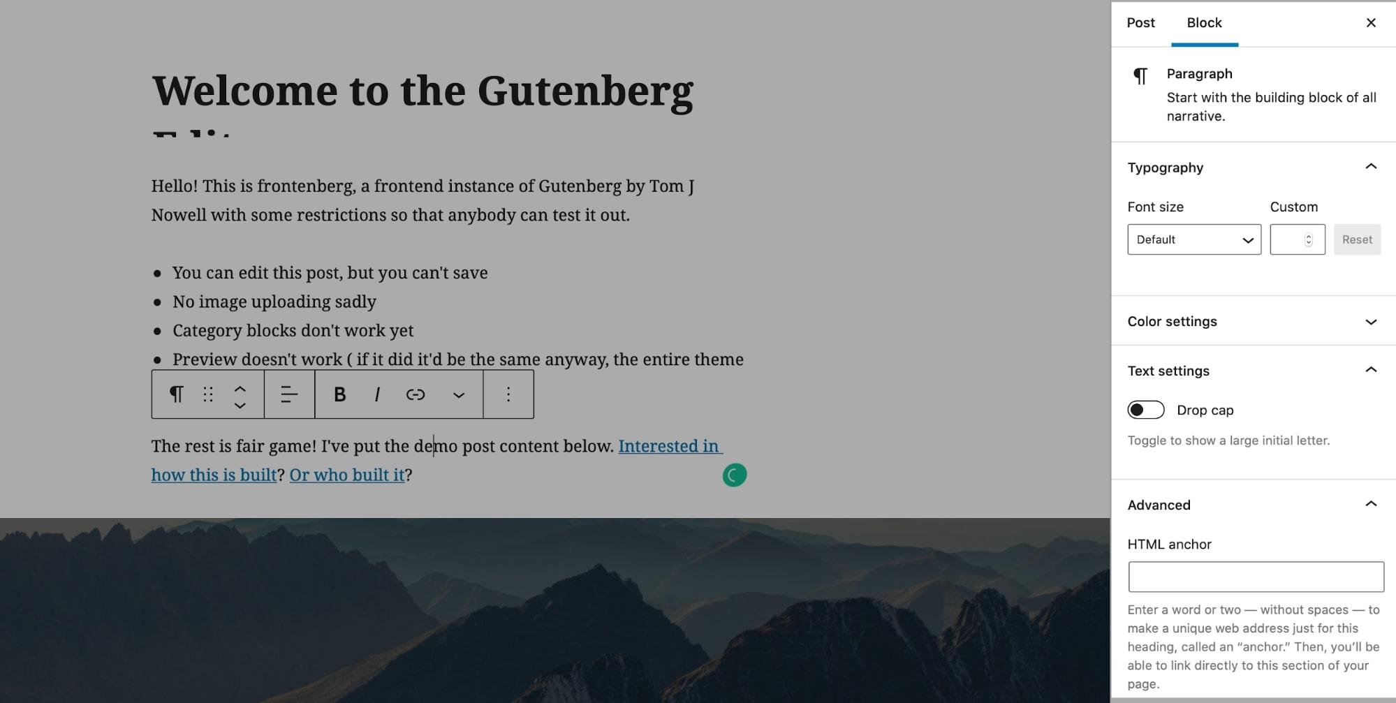 Gutenberg Block customization settings