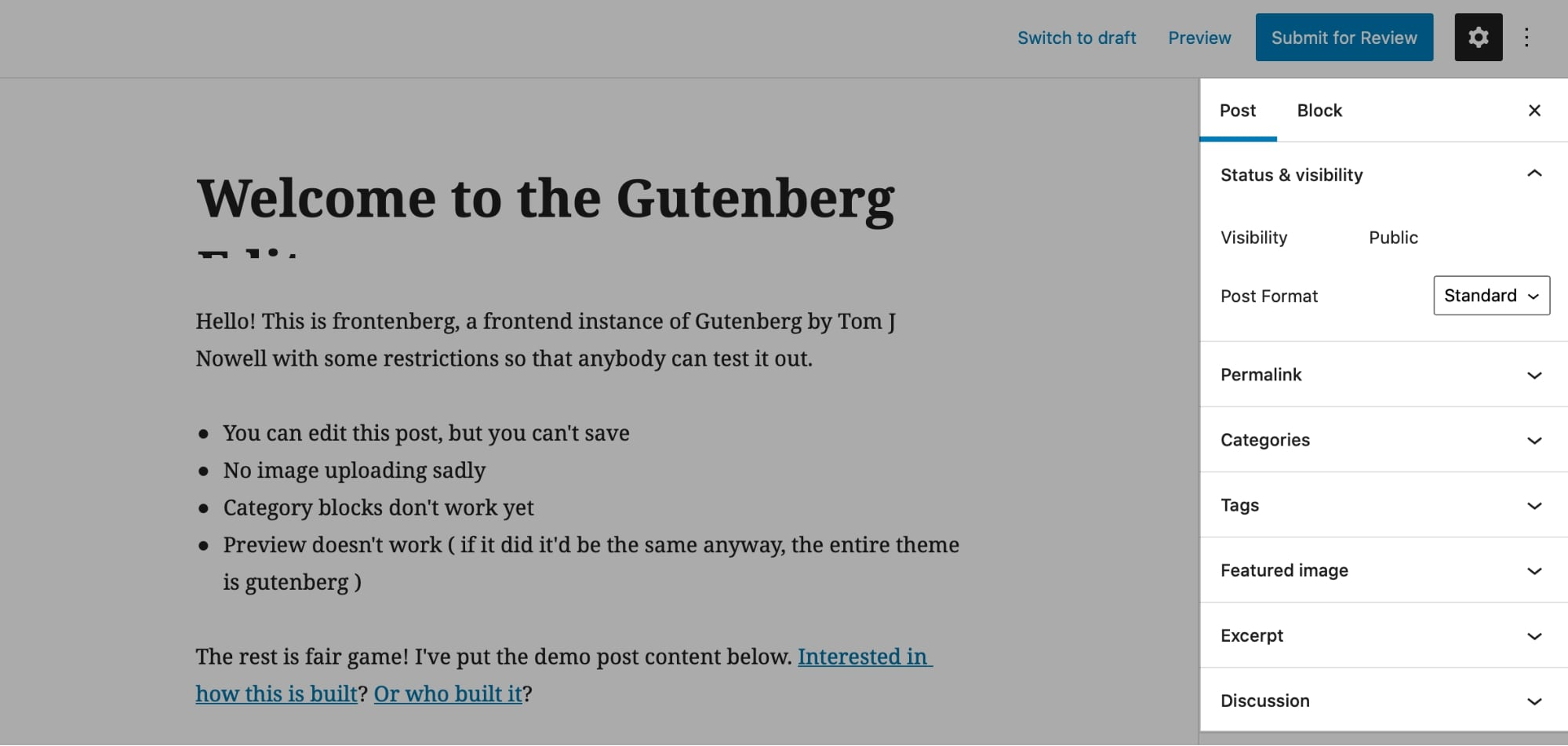 Gutenberg editor Post settings