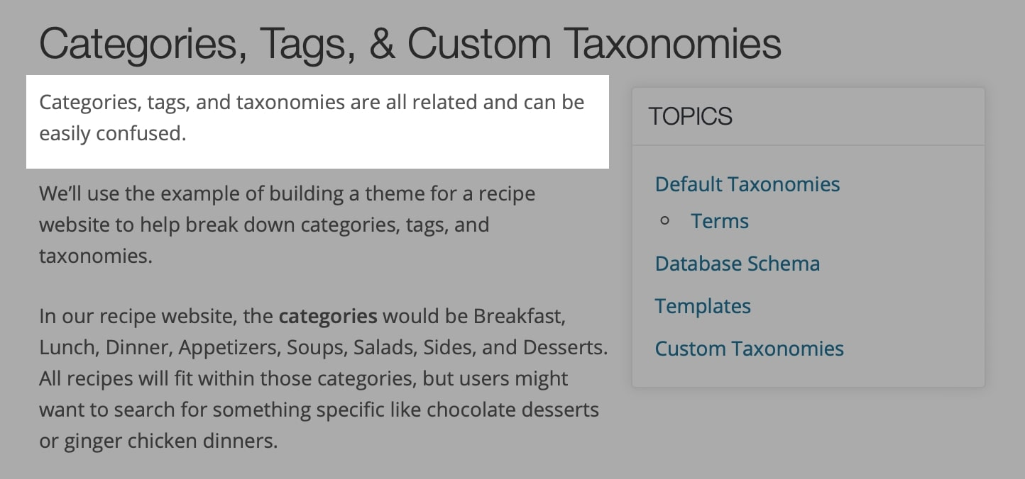 Categories, tags and taxonomies
