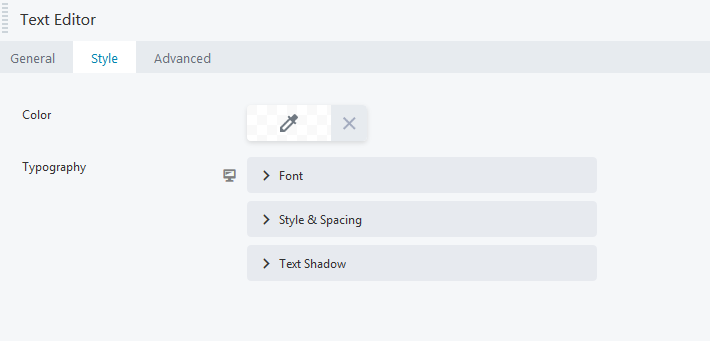 Text editor style for editing font size, color on home page