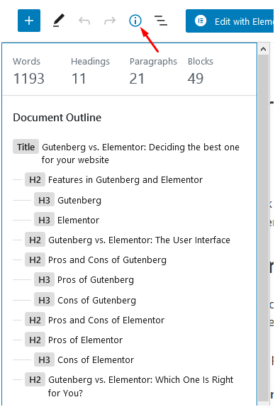 Document outline shows number of headers, words, paragraphs
