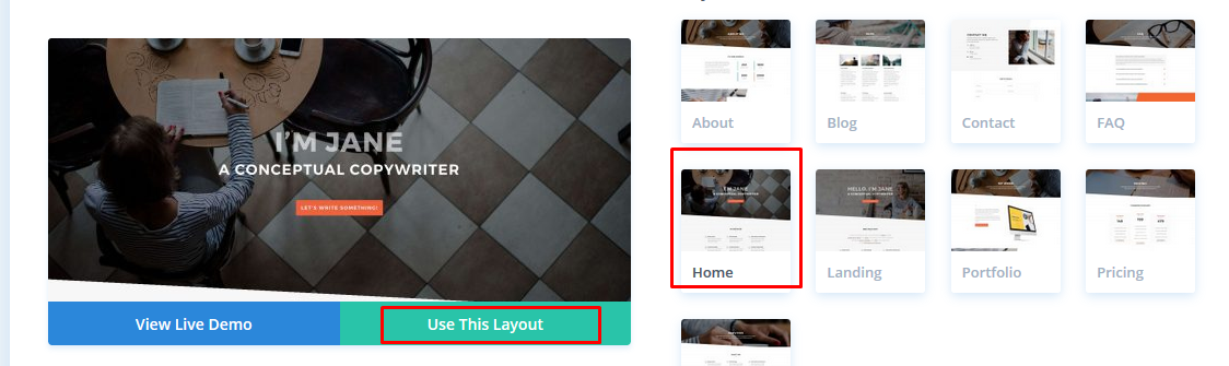 select home divi builder layout to edit wordpress home page