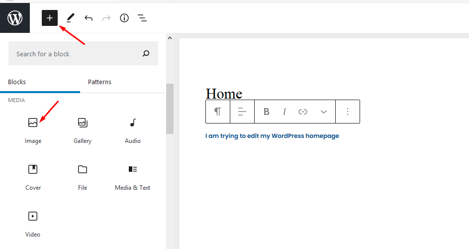 Add images when editing home page in wordpress
