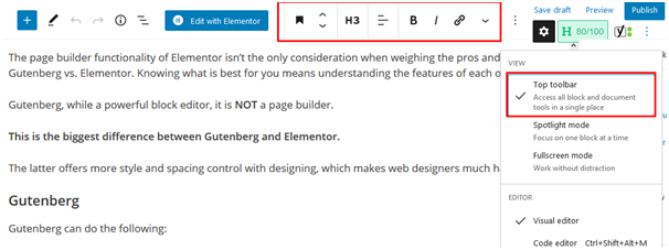 gutenberg vs elementor: editing options show at the top after clicking on top toolbar