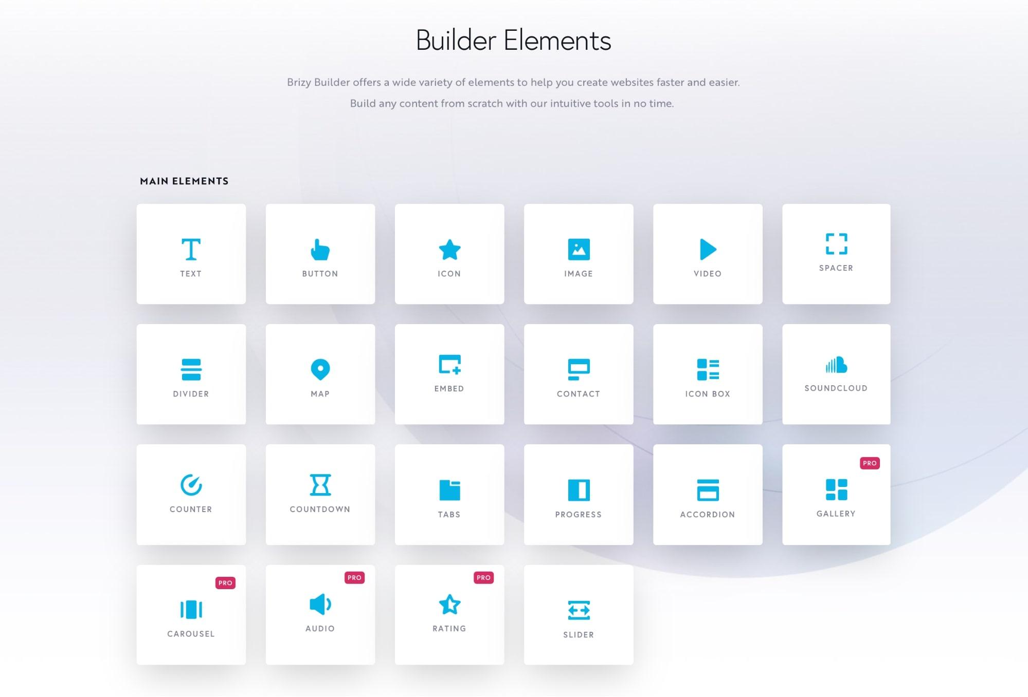 Brizy builder elements
