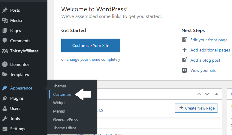 Edit WP footer - Go to WP Appearance Section