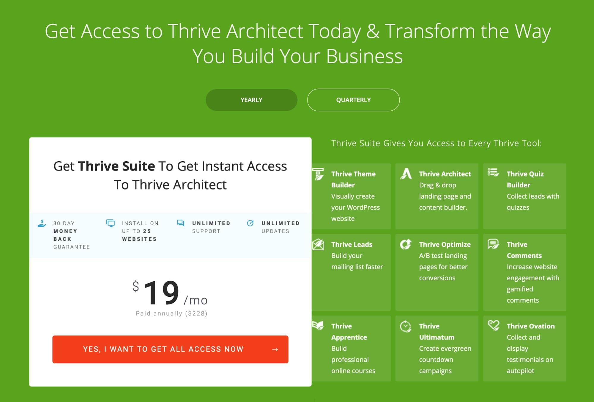 Thrive Architect pricing