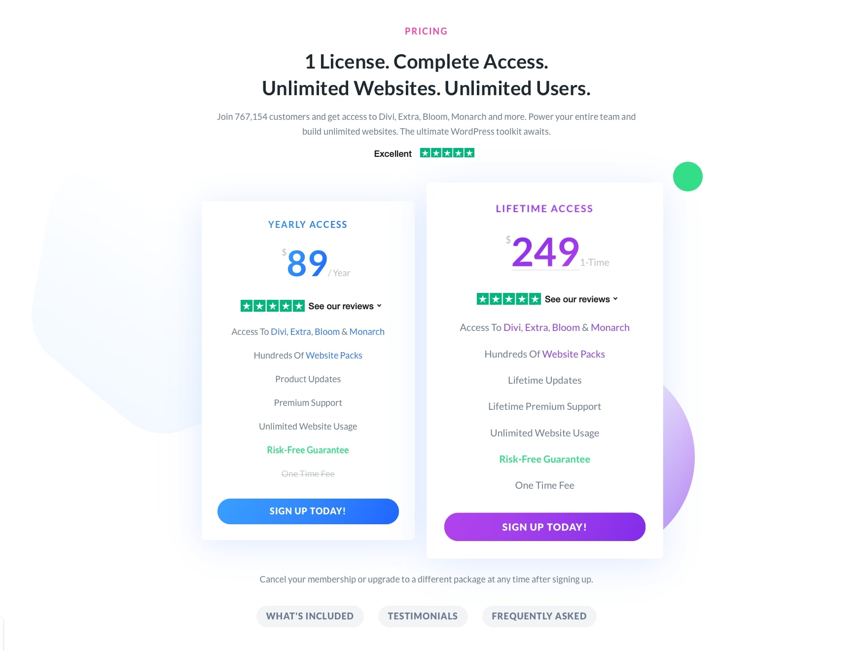Divi Pricing Plans