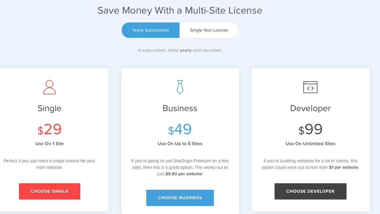 SiteOrigin Pricing
