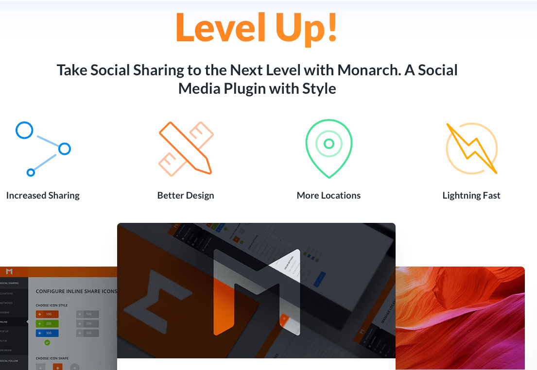 Monarch social sharing plugin with style